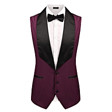 Men Single-Breasted Button Down Patchwork Slim Fit Business Vest Waistcoat