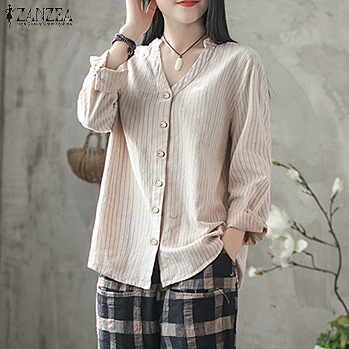 527feae49e2e0e UK 8-24 Women Striped Long Sleeve Causal Baggy Tops Button Down Shirt Blouse  Tee