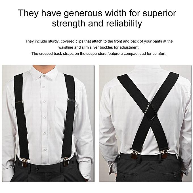 c98e8ca95 Uni X-Shape Elastic Clip-on Suspenders Strap Adjustable Braces with 4 Clip  ...