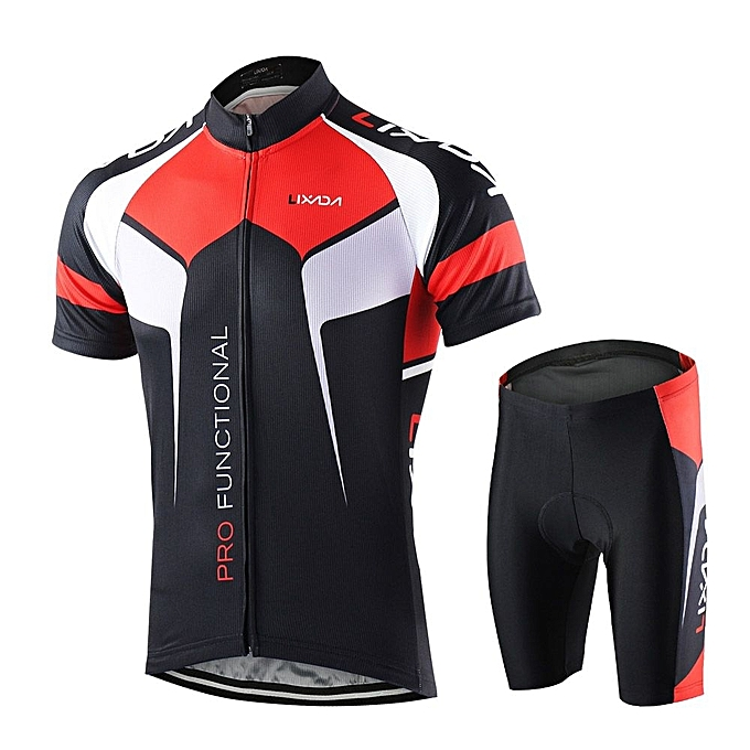 Generic Men Breathable Quick Dry Comfortable Short Sleeve Jersey + Padded  Shorts Cycling Clothing Set Riding Sportswear Black 30fdc4fe4