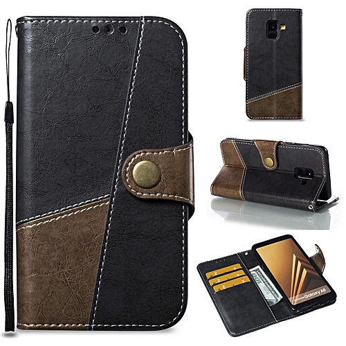 new product 30899 c203b Case For Galaxy A8 2018 Leather Flip Cover Phone Case Wallet Card Holder  For Samsung Galaxy A8 /A530 (Grey)
