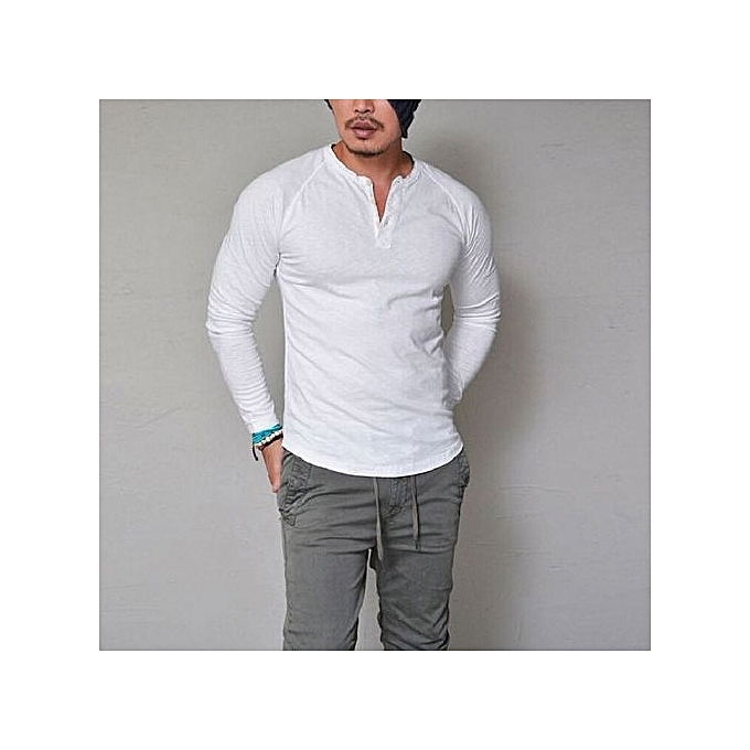 73bf56724cbec Eissely bluerdream-Fashion Men s Slim Fit V Neck Long Sleeve Muscle Tee T-shirt  Casual Tops Blouse- White