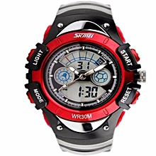 Fashion Kids Watches Sports 6 Colors Digital Rubber Children Watch Boy Waterproof 3Bar Gift Watches Student Stopwatch SKMEI(Red)