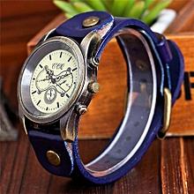 Fohting CCQ Brand Leather Vintage Watch Men Women Wristwatch Quartz  -Blue