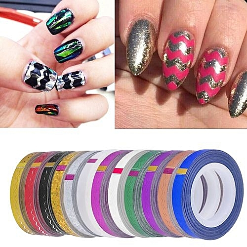 Buy Generic 1 Roll Nail Stickers Diy Waves Striping Tape Line Nail