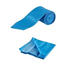 Turquoise Blue Men's Tie With Pocket Square/Pochette/Pocketchief