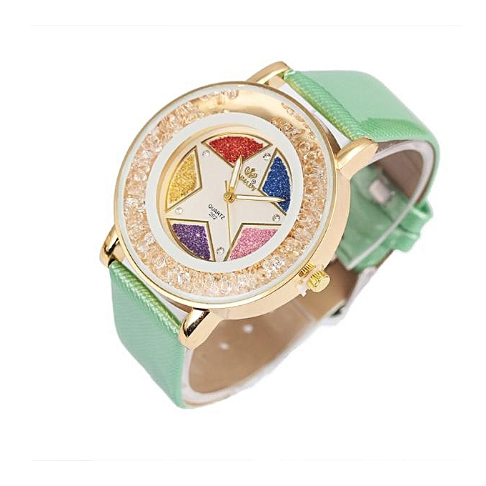 Round Diamond Dial Quartz Watch With A Five Pointed Star Pattern Leather Ladies