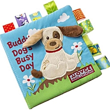 SaiDeng Colorful Baby Animal Soft Cloth Book Infant Kid Intelligence Development Learn Animals Shapes Bed Cognize Books Educational Toy Gift Specification:Puppy