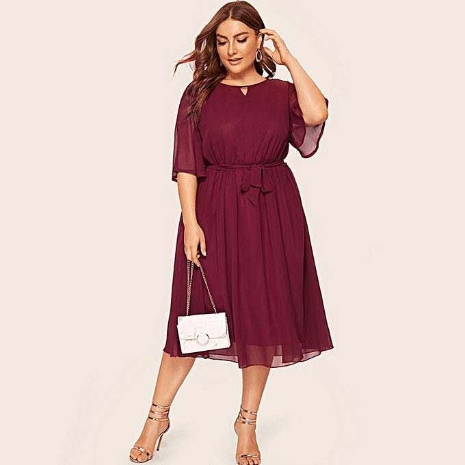 africashop Womens Plus Size Casual O Neck Half Sleeve Knee Length Dress  Party Dress