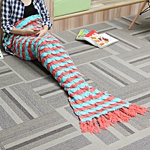 180x90cm Yarn Knitting Mermaid Tail Blanket Birthday Gift Warm Super Soft Bed Mat Sleep Bag