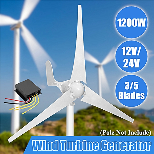 1200W Wind Turbine Generator 12/24V 3/5 Blades Charge Controller Horizontal  Home