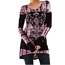 Hot Sale Womens Rock Style African Print Shirt Long Sleeve Top High Low Hem Tunics Blouse-pink