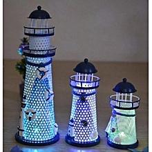 1pcs Iron Craft Lighthouse LED Illuminate Home Decor Desk Cute Gift