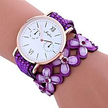 Lady  Leather Wrist Watch Fulaida Fashion Large Dial Chimes Diamond Leather Bracelet Lady Womans Wrist Watch -Purple