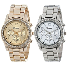 bluerdream-2 PACK Geneva Silver And Gold Plated Classic Round Ladies Boyfriend Watch-AS Shown
