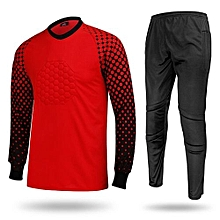 Men's Football Sports Goalkeeper Jersey Long Sleeves Shirts With Pants-Red(SY12)