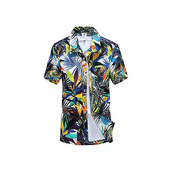 888eede819d Podom Men Summer Casual Hawaiian Beach Button Floral Print Short Sleeve  Holiday Party Shirt Tee Top