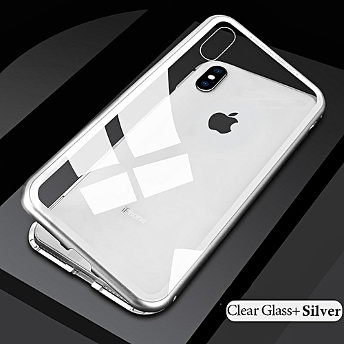 huge discount 1bb53 0b27e Magnet Metal Bumper Case For for iphone 8 7 Magnetic Adsorption+Tempered  Glass Back Cover For IPhone 8 7 (Transparent White)