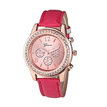 Fohting Fashion Women Geneva Roman Watch Lady Leather Band Analog Quartz Wrist Watch -Red