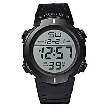 Fashionable Waterproof Male's Boy LCD Digital Stopwatch Date Rubber Sport Wrist Watch-White