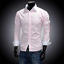Men\'s Casual Slim fit Long Sleeve Shirts-Pink