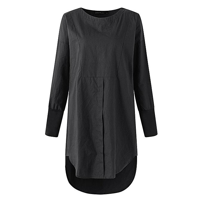 e46e01dd6808 Fashion ZANZEA Plus Women Long Sleeve Loose Shirt Skater Curved Mori ...