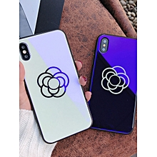 iPhone X/8/8 Plus/7/7 Plus/6S/6/6 Plus Phone Cover Blu-Ray Tempered Glass Flower Pattern Case____IPHONE 7____white