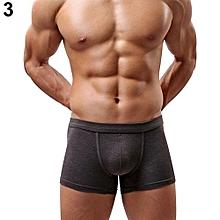 Men's Sexy Solid Color Modal Elastic Boxers Shorts Underwear Briefs Underpants-Grey