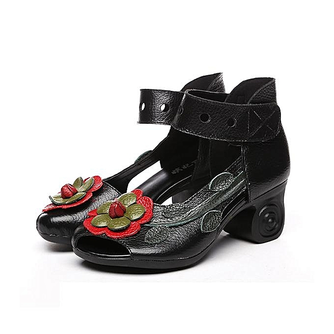 c2a3926e9 SOCOFY Fashion Women Flower Retro Genuine Leather Handmade Heeled Sandals-EU