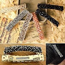Women's Fashion Bling Headwear Handmade Full Crystal Hair Clip Barrette Hairpin-Black
