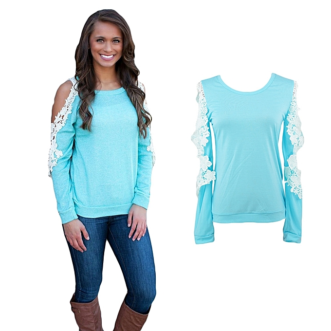 4526f32bae3 New Fashion Women T-Shirt Cold Shoulder Lace Patchwork Long Sleeve Top  Blouse Blue