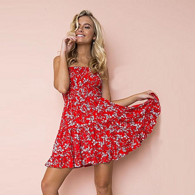 f0040608a66d Sexy Women Strapless Floral Lemon Print Sundress Ruched Ruffle Summer Beach Mini  Swing Dress