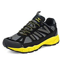 Spring Autumn Men Outdoor Shoes Leahter Breathable Hiking Mountain Trekking Shoes Anti-skid Men Climbing Shoes - Yellow