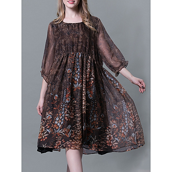 be83e45ab36b Fashion Plus Size Chiffon Dresses Loose Floral Dresses @ Best Price ...
