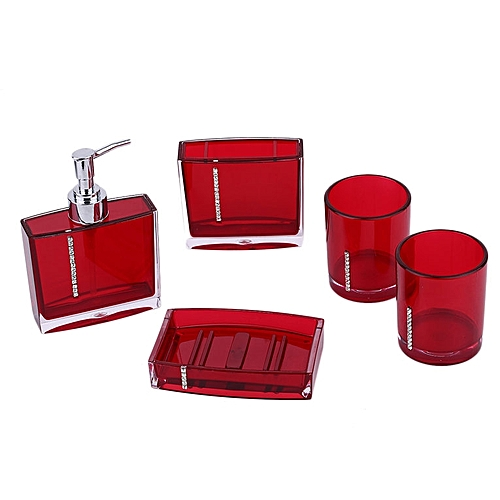 Home 5pcs Set Bathroom Hand Soap Dish Toothbrush Holder Red