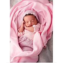 Cute soft newborn baby blanket with head support pillow (pink)