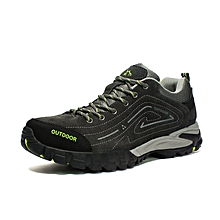 Autumn Winter Men Outdoor Shoes Hiking Mountain Climbing Shoes Breathable Anti-skid Trekking Shoes Leather Wearable - Grey