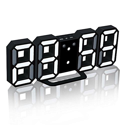 Generic LED Digital Alarm Clocks Big Digit 3D Wall Clock 8 Shape Electronic  Table Watch Shelf Nixie Clock Horloge Mural On The Wall Home(white Black)