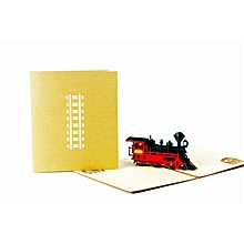 Retro Train 3D Pop Up Paper Cards Gold Cover Handmade Postcards For Best Wish Gold