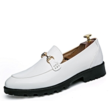 New Men Slip On Casual Shoes Fashion Thick Soles Moccassins (White)