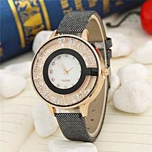 Women Wristwatch Leather Casual Watch Diamond Supply Quicksand Ball Female Watch(Black)