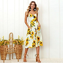 New Summer Women's Floral Print Sleeveless Shoulder-Straps Buttoned Backless Sexy Dress With 20 Colors Optional (Sunflower)