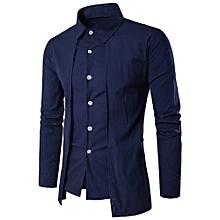 Xiuxingzi_Luxury Men Casual Shirt Long Sleeve Formal Business Slim Dress Shirt T Shirt Top