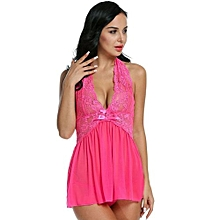 Avidlove Women Fashion Sexy See-through Babydoll Halter Backless Lingerie Dress And Matching Thong Set