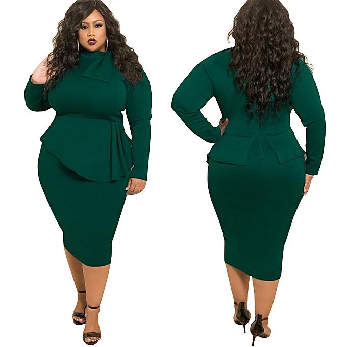 7cbc7f76e62 Fashion Autumn Plus Size Bowknot Long Sleeve Women Dress D1053 Army ...