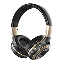 Active Noise Cancelling Bluetooth Wireless Over Ear Headphones with Microphone black & golden