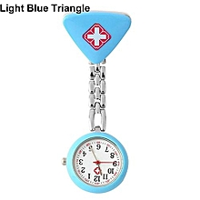 Women's Butterfly Smile Face Quartz Clip-On Brooch Nurse Hanging Pocket Watch-Light Blue Triangle
