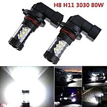 2pcs H8 H11 80W LED Fog Driving Car Head Lights Lamp Bulb Super White 6500K