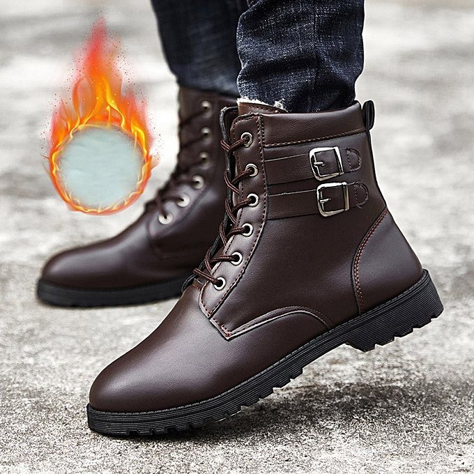74900bb4391 Warm Winter Ankle Boots Men Casual Shoes Work Tooling Mens Belt Buckle Boots