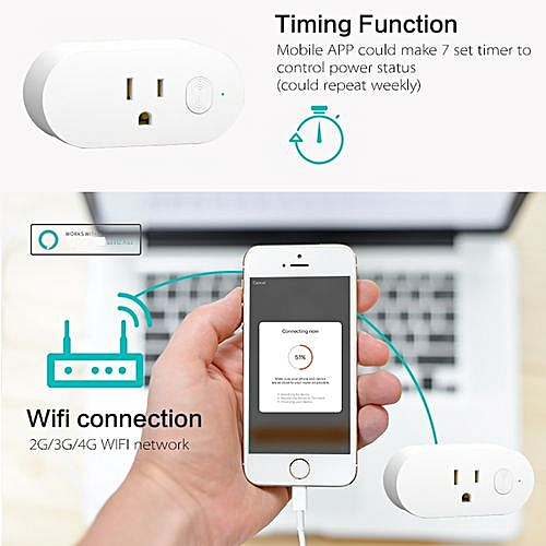 Smart Power Socket Wifi Wireless Mini Switch Remote Control Timer Outlet US  Plug